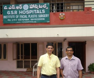 Dr Gosla and Dr Raj outside the Institute of Facial Plastic Surgery